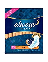 Always Maxi Pads, Overnight WithFlexi-Wings, Unscented, 33 Count