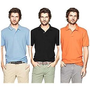 Polo T-Shirts Pack Of 3 SKY,Black,Orange