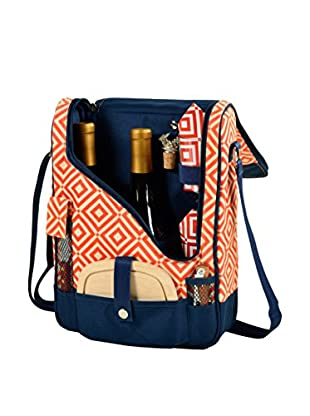 Picnic At Ascot Diamond Collection Pinot Wine and Cheese Cooler For 2, Orange/Navy