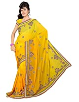 A.V.Fashion Embroidered Saree (1002_Yellow)
