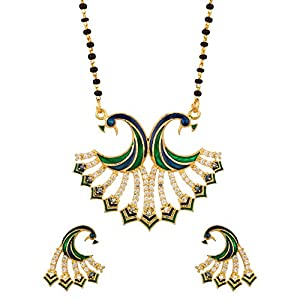 Voylla Exotic Single Chain Peacock Inspired Mangalsutra Set Adorned With CZ And Enamel Work