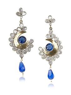 Taara Blue Crystal Crescent Earrings