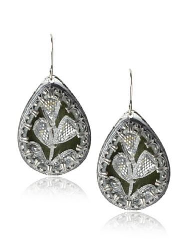 Presh Silver & Cedar Teardrop Earrings