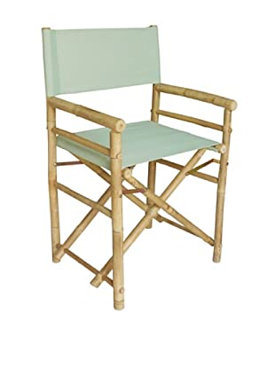 ZEW, Inc. Pair of Outdoor Bamboo Director Chairs with Interchangeable Covers, Celadon/Pale Stripes