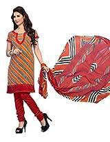 Triveni Fashionable Stripes Printed Cotton Jacquard Salwar Kameez