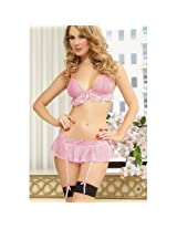 Valentine Bra and Micro Mini Skirt Set with attached Garters, NG1159