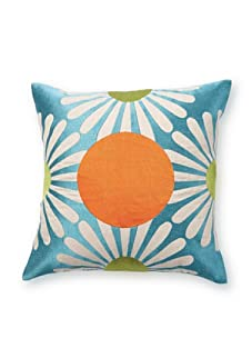 emma at home Fan Dot Embroidered Linen Pillow (Sea)