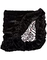 BESSIE AND BARNIE Pet Blanket, X-Small, Versailles Pink/Black Puma with Ruffle