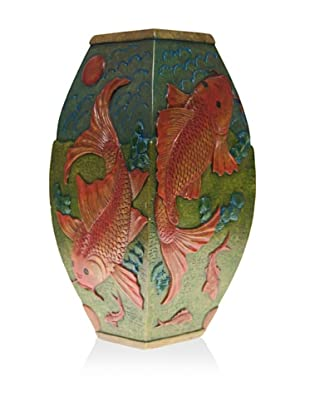 The Niger Bend Tall Soapstone Vase with Koi Design
