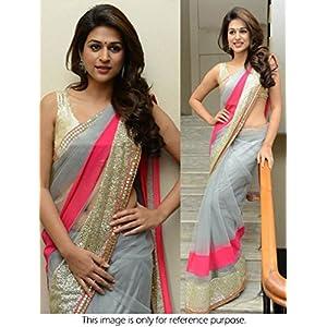 Ninecolours SR0350021 Bollywood Replica Net Saree, Grey