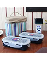 Clear & Blue Lunch Box Set With Bag Set of Four Pieces from Lock & Lock
