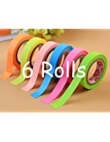 Paper Tape Set Of 6 Attractive Neon Color Adhesive Paper Tapes For Decorative Purposes Like Art And Craft Projects (Size : 9Mm X 5M)