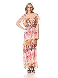 Ceci Women's Grecian Dress With Side Slits (Mulit Pink)