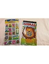 Animal Laser Puffy & Sparkle Sticker 87pc Bundle Set