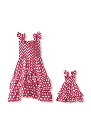 Me & Dolly by 4EverPrincess Girl's Angel Dress (Pink/White)