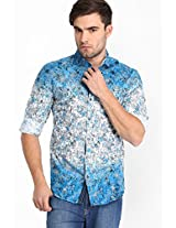 Printed Blue Casual Shirt Locomotive