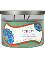 Candle-lite 12-Ounce 3-Wick Jar with Decorative Lid, Renew, Eucalyptus and Thyme