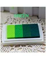 1pc Gradient Oil Based Ink pad Signet For Paper Wood Craft Rubber Stamp (Green)