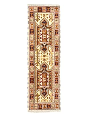 Hand-Knotted Royal Kazak Wool Rug, Cream, 2' 1
