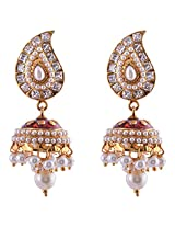 Ganapathy Gems 1 Gram Gold Plated Jhumki With Mango Design Stud And Maroon And White Stones