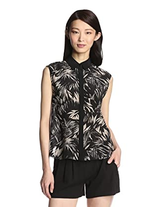 Jason Wu Women's Botanical Chiffon Fly-Back Top (Black)