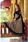 Cream and Black Cotton and Net Anarkali Suit