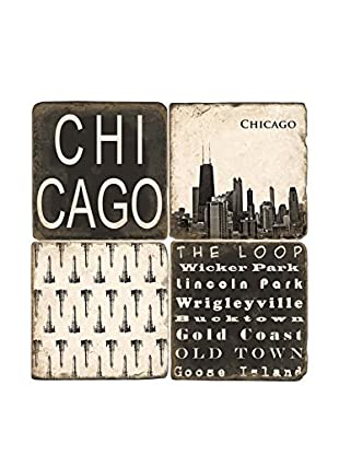 Studio Vertu Set of 4 Black & White Chicago Tumbled Marble Coasters with Stand