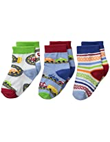 Jefferies Socks Baby Boys' Vehicle 3 Pair Pack Socks, Speedy, Infant