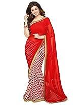 priya fashion red bollywood georgette half half saree