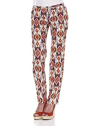 Peace & Love Pantalón Geométrico Trabillas (Rojo)