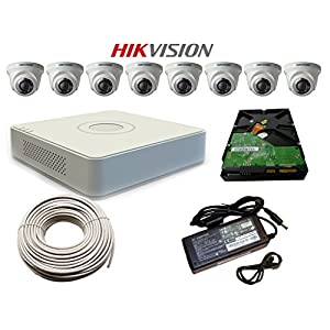 Active Feel Free Life Hikvision Cctv Set Of 8 Channel Dvr Hdmi/Vga Hikvision 8 Dome Cameras Wd 500 Gb Hardisk 90Mtr Cctv Wire Smps