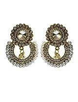Ramleela Ethnic Earrings with a Traditional Look (White) - UEKMER7401WH