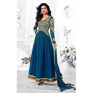 Riti Riwaz Georgette Suits Ink Blue Georgette Anarkali Semi Stitched Dress Material Sau2115