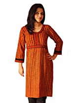 IndiaVillage Women's Kurti (WAK0080_Orange_X-Large)