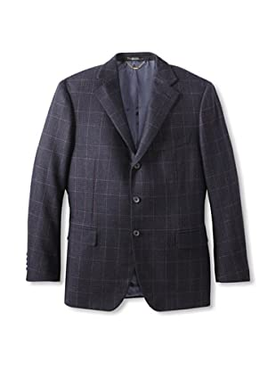 Nikky Men's Windowpane Jacket (Navy/Purple Overcheck)