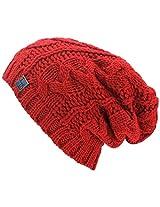 Luxury Divas Red Oversize Slouchy Cable Knit Unisex Beanie Cap Hat