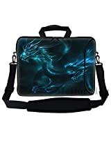 Meffort Inc 17 17.3 inch Neoprene Laptop Bag Sleeve with Extra Side Pocket Soft Carrying Handle & Removable Shoulder Strap for 16 to 17.3 Size Notebook Computer - Blue Dragon Design