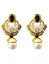 Dhwani Creation Alloy Drop Earrings for Women and Girls (Black)