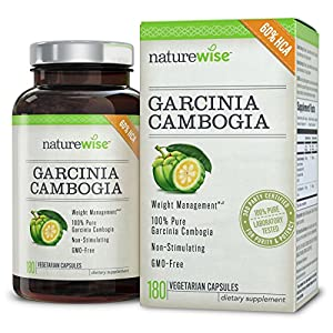 Naturewise Garcinia Cambogia Extract Natural Appetite Suppressant And Weight Loss Supplement, 180 Co...