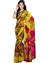 Pagli Women's Faux Georgette Saree (Pgnc-1003 _Yellow)
