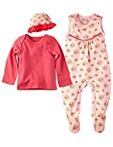 Infant Girls Full Sleeves Tee with Sleepsuit and Cap, Pink (Newborn)