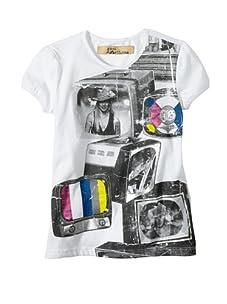 John Galliano Girl's Short Sleeve Screen Print Top (White)