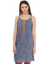 Aana Women's Cotton Regular Fit Kurti (ASKA055F079CBL, Blue, XL)
