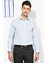 Aqua Blue Striped Slim Fit Formal Shirt Peter England