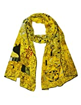 Wrapables Luxurious 100% Charmeuse Silk Long Scarf with Hand Rolled Edges, Gustav Klimt's Adele Bloch-Bauer I