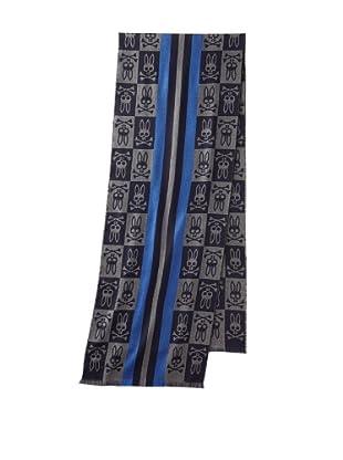 Psycho Bunny Men's College Stripe Scarf (Blue)
