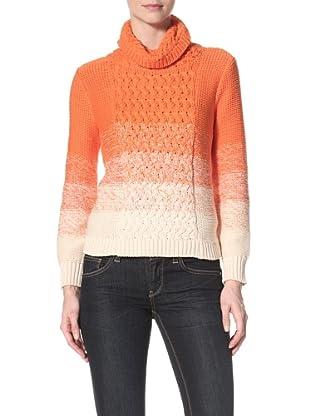 525 America Women's Chunky Knit Turtleneck (Creme Brule/Orange)
