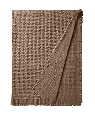 a & R Cashmere Modern Basketweave Throw with Fringe, Sand