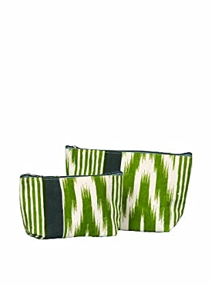 RockFlowerPaper Ikat Stripe Olive Zip Bags (Set of 2)
