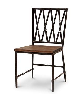 Palecek Camden Wooden-Seat Chair, Dark Grey/Brown